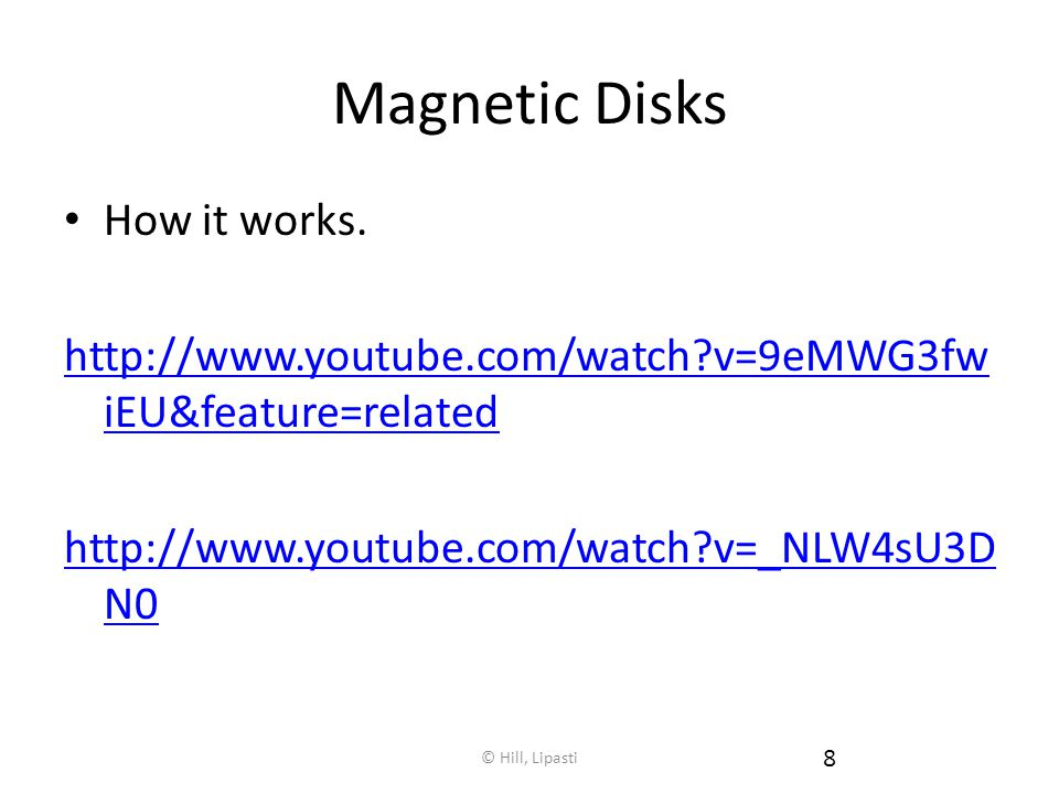 Magnetic Disks How it works.