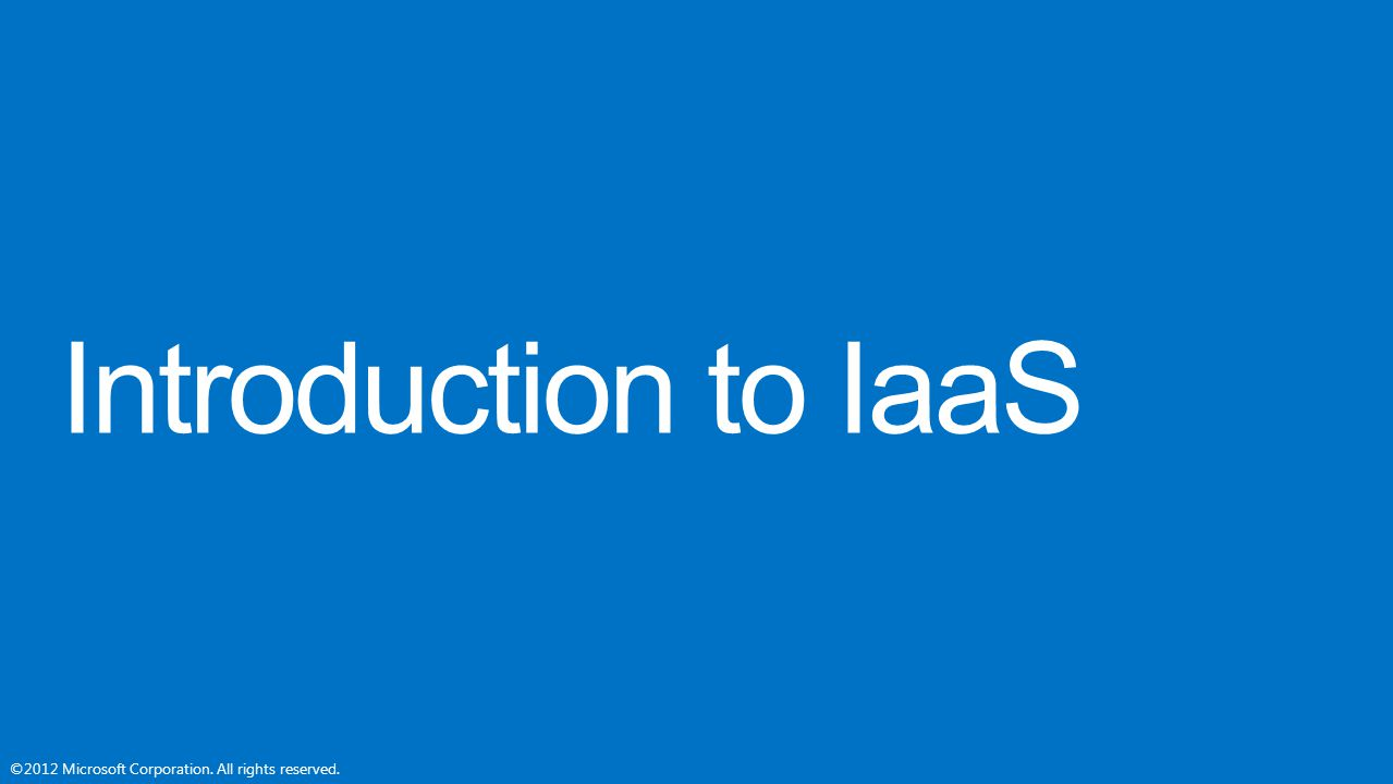 Introduction to IaaS