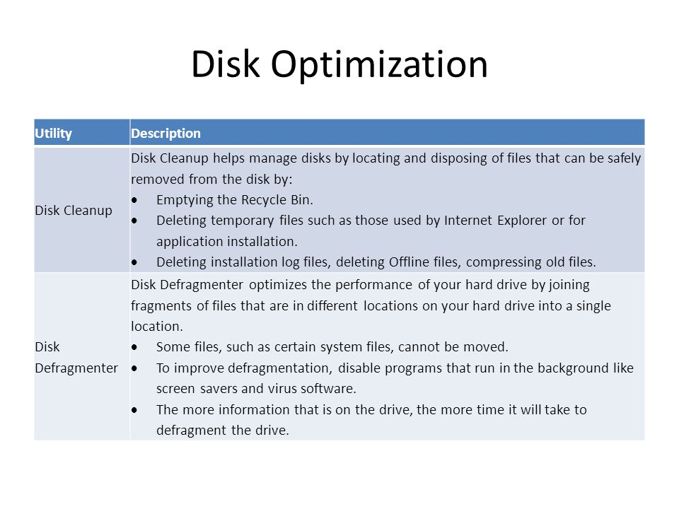 Disk Optimization Utility Description Disk Cleanup