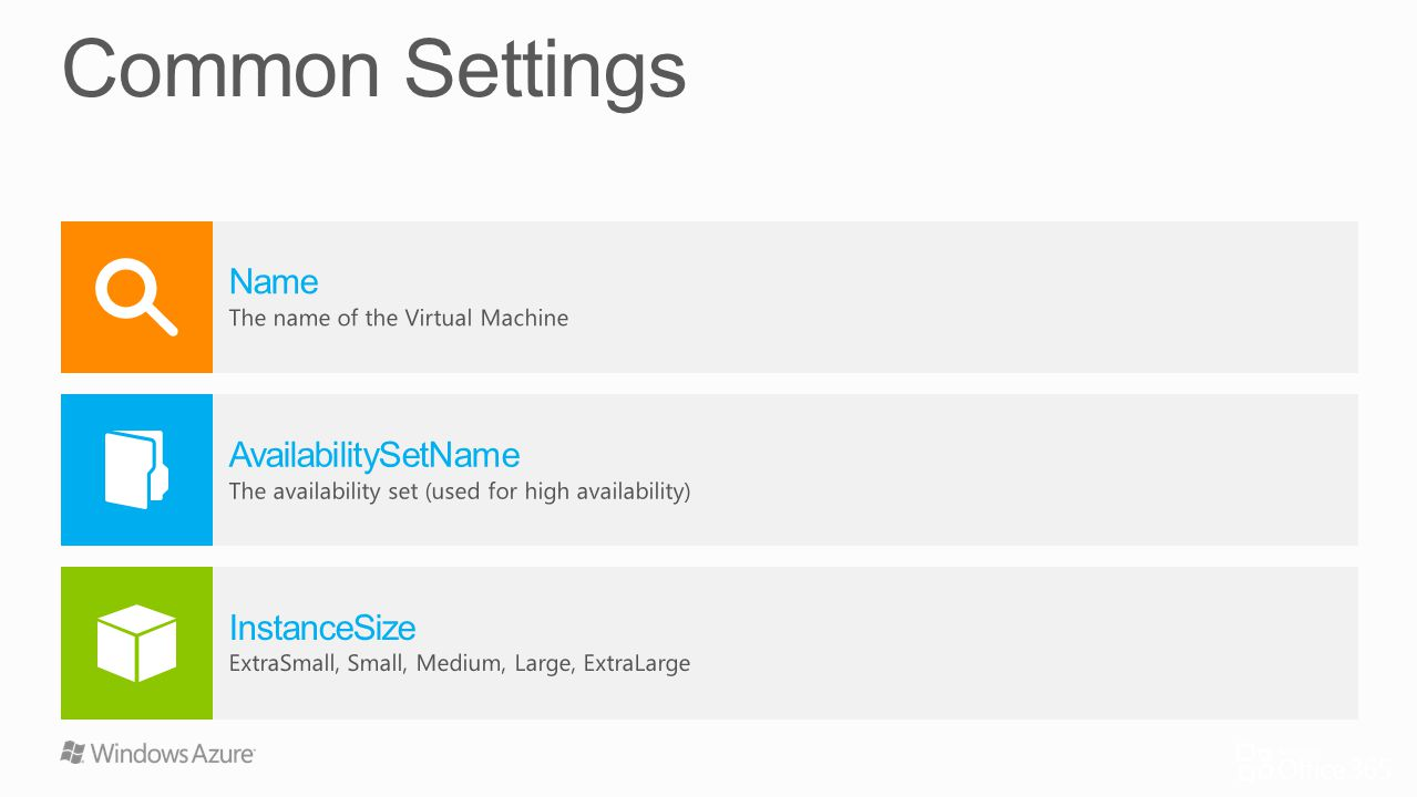 Common Settings Name AvailabilitySetName InstanceSize