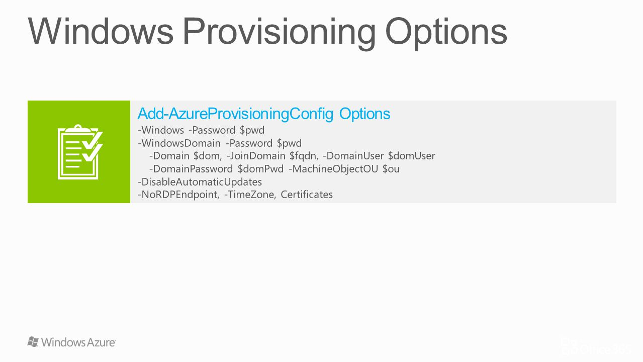 Windows Provisioning Options