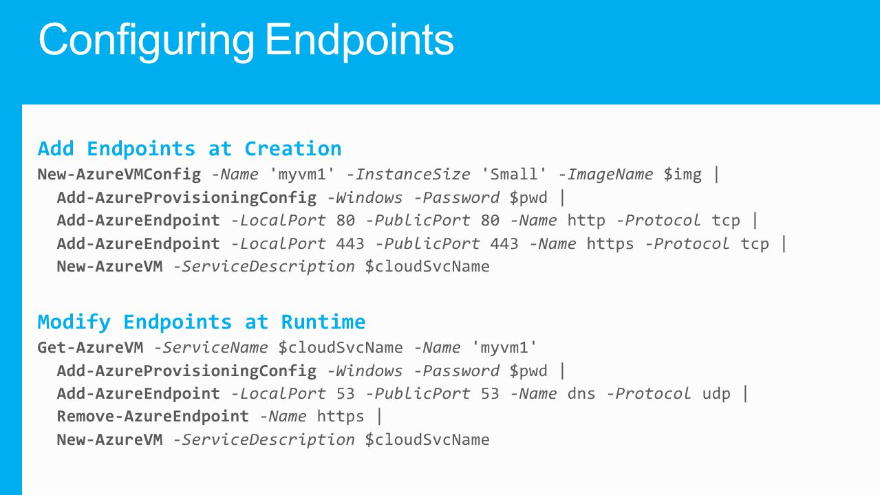Configuring Endpoints