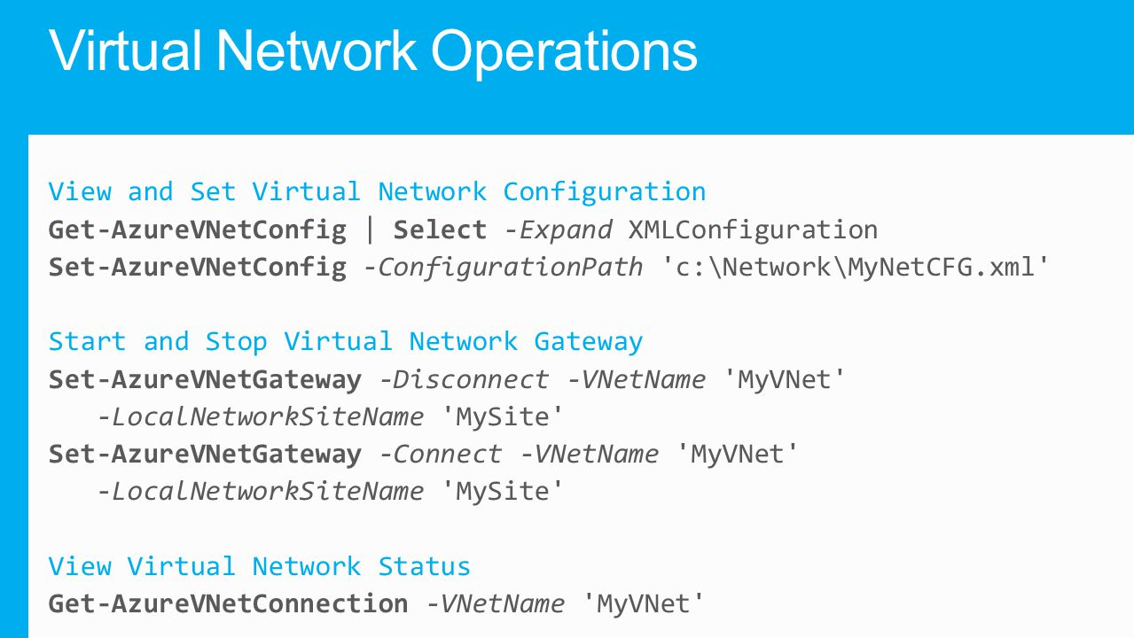 Virtual Network Operations