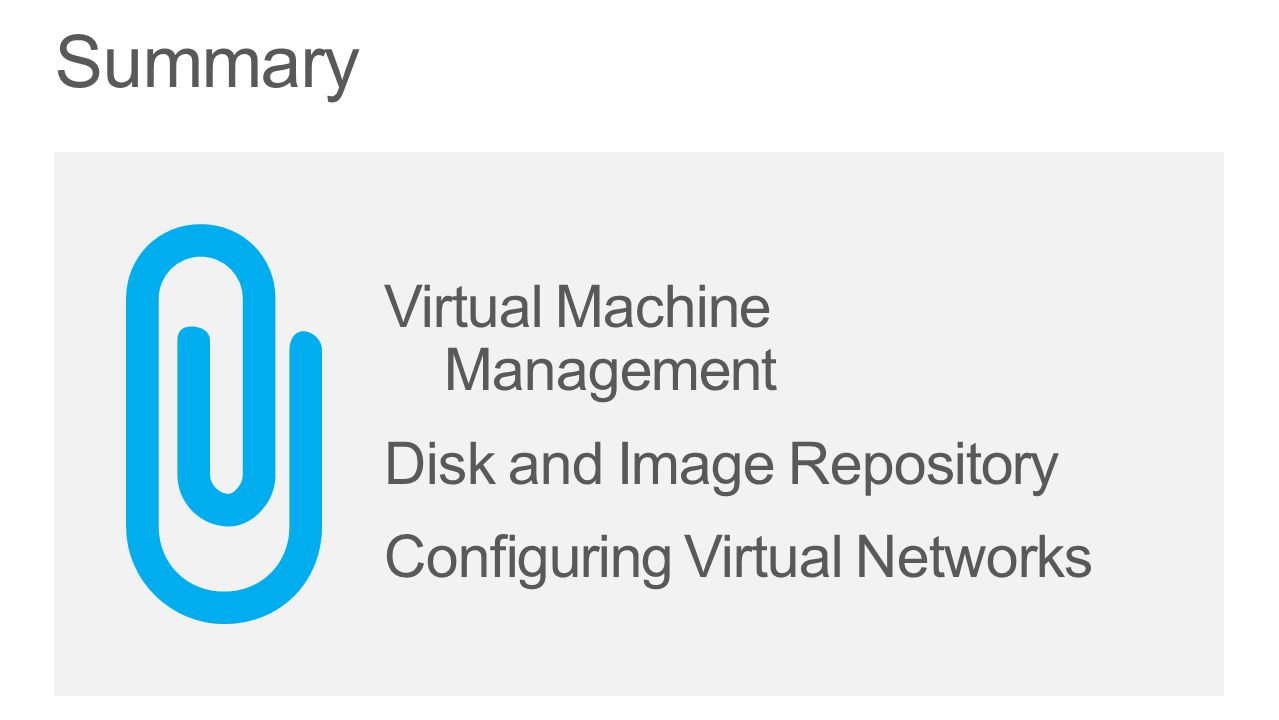 Summary Virtual Machine Management Disk and Image Repository