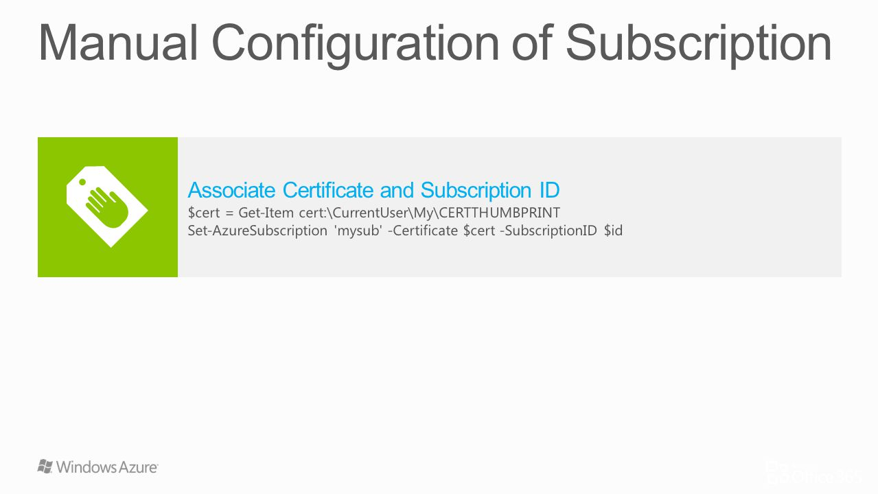 Manual Configuration of Subscription
