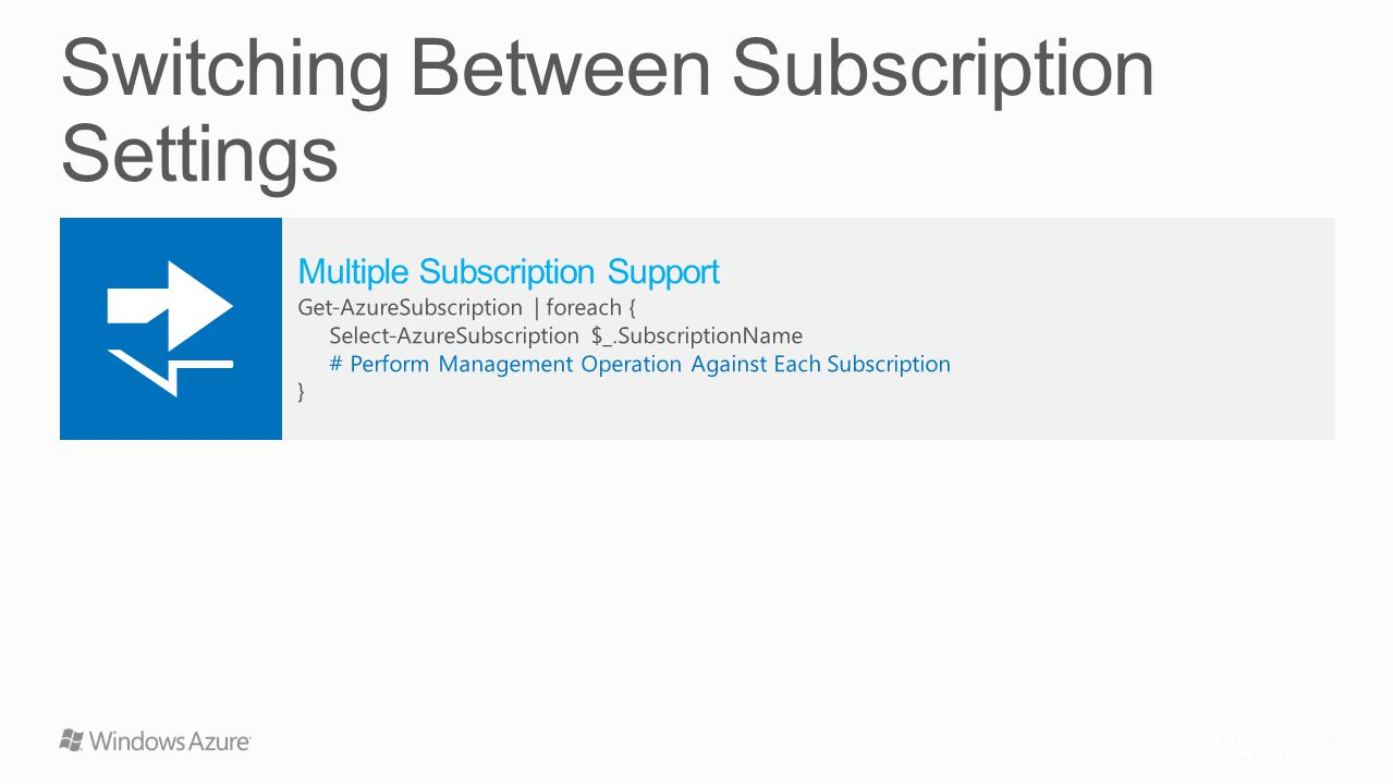 Switching Between Subscription Settings