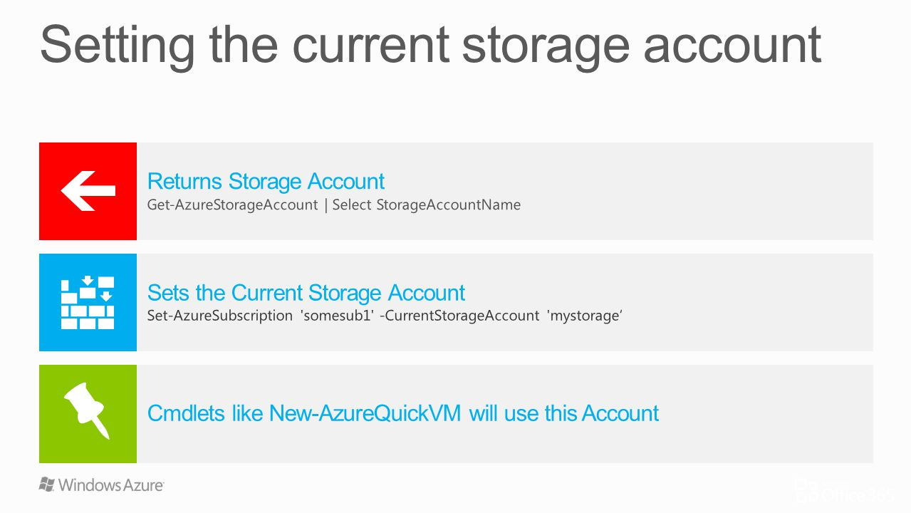 Setting the current storage account