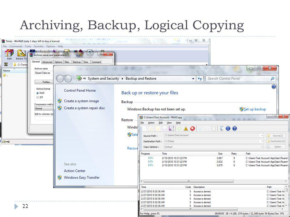 Archiving, Backup, Logical Copying