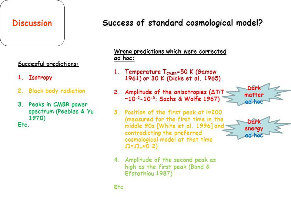 Success of standard cosmological model