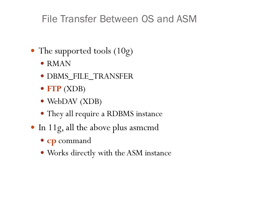 File Transfer Between OS and ASM