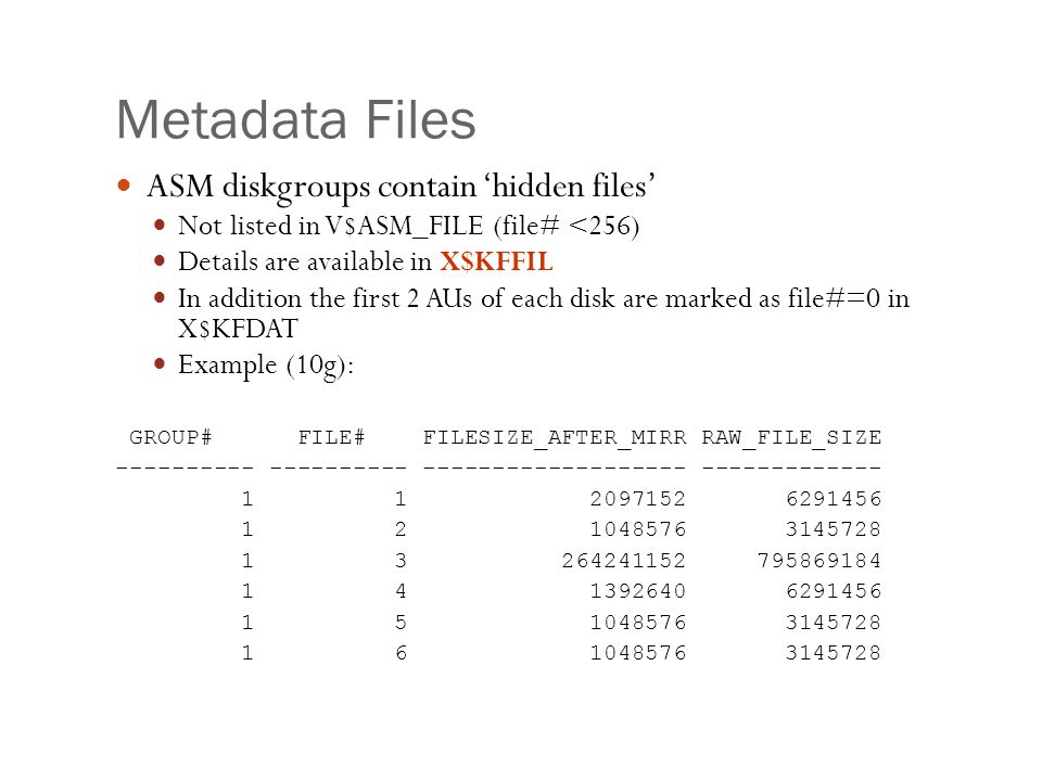 Metadata Files ASM diskgroups contain 'hidden files'