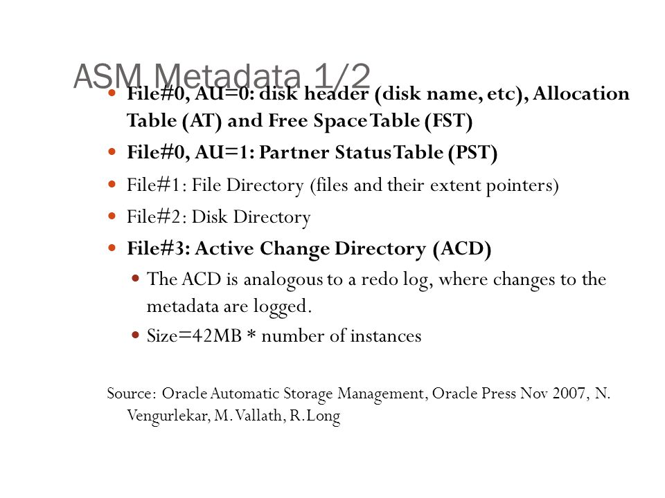 ASM Metadata 1/2 File#0, AU=0: disk header (disk name, etc), Allocation Table (AT) and Free Space Table (FST)