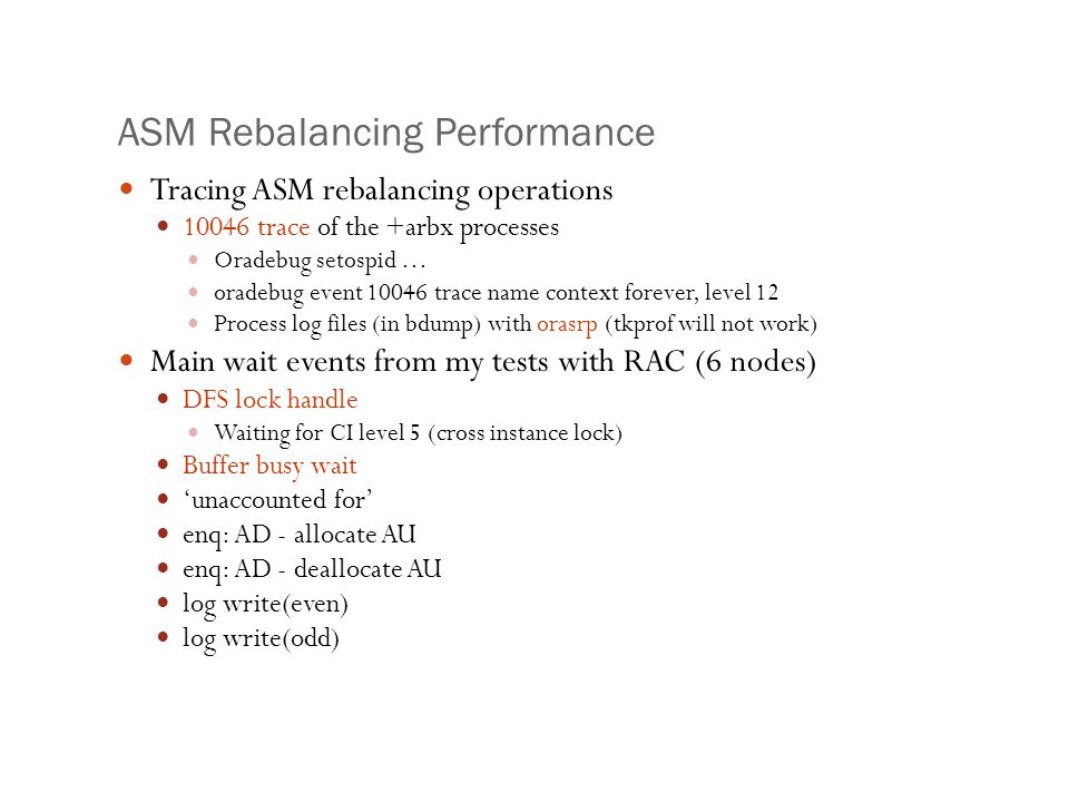 ASM Rebalancing Performance