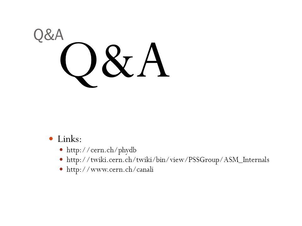 Q&A Q&A Links: http://cern.ch/phydb