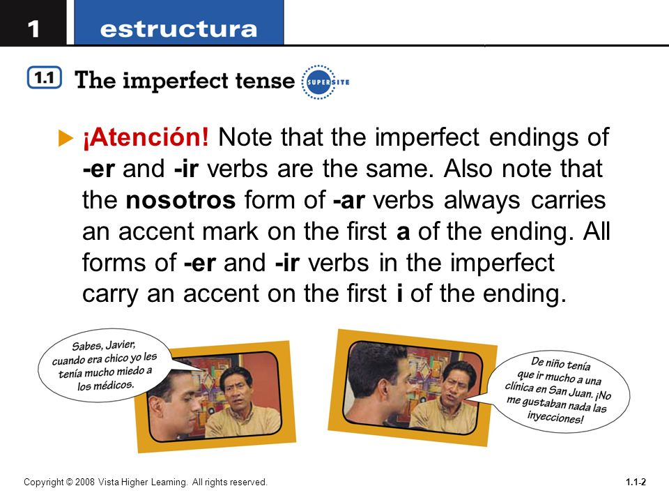 You will now learn the imperfect, which describes past activities ...