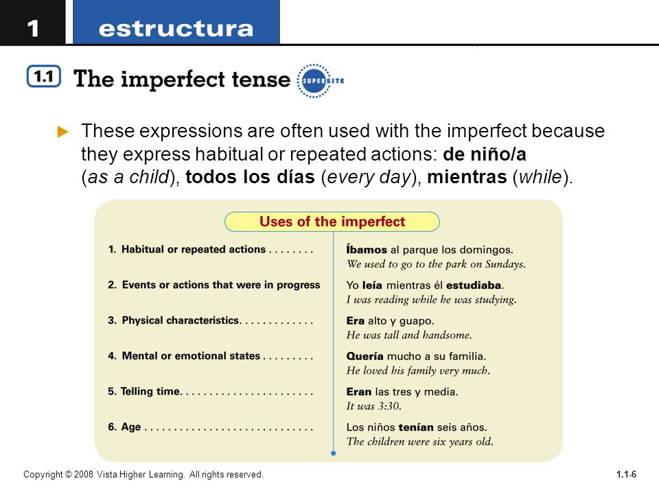 These expressions are often used with the imperfect because they express habitual or repeated actions: de niño/a (as a child), todos los días (every day), mientras (while).