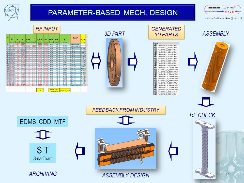 S T PARAMETER-BASED MECH. DESIGN EDMS, CDD, MTF 3D PART ASSEMBLY