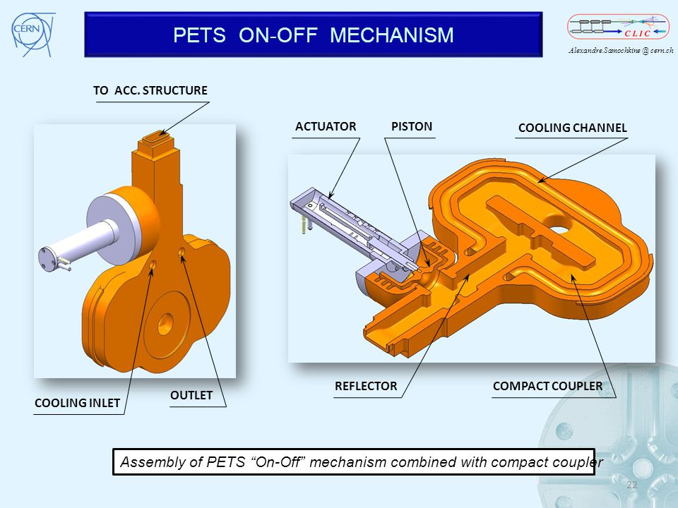PETS ON-OFF MECHANISM COOLING INLET. TO ACC. STRUCTURE. OUTLET. ACTUATOR. COOLING CHANNEL. REFLECTOR.