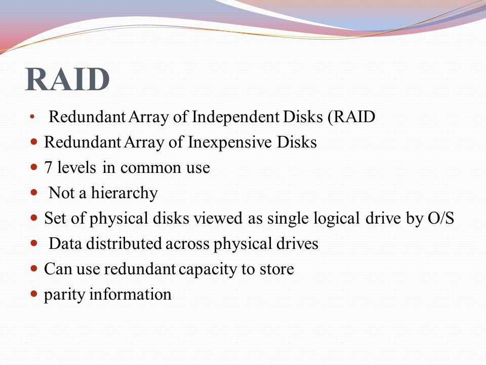 RAID Redundant Array of Independent Disks (RAID