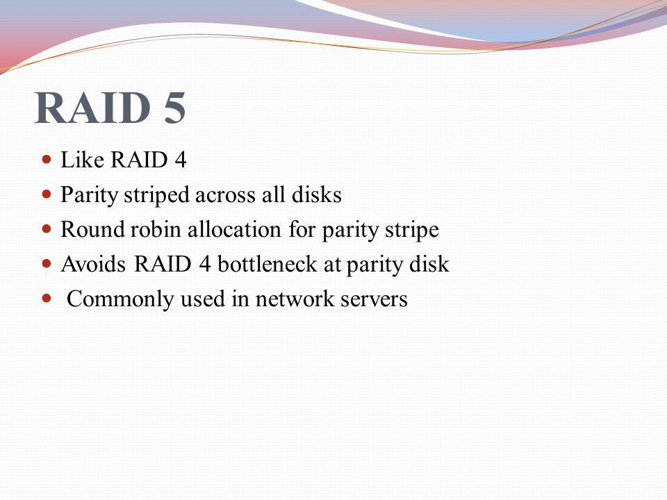 RAID 5 Like RAID 4 Parity striped across all disks