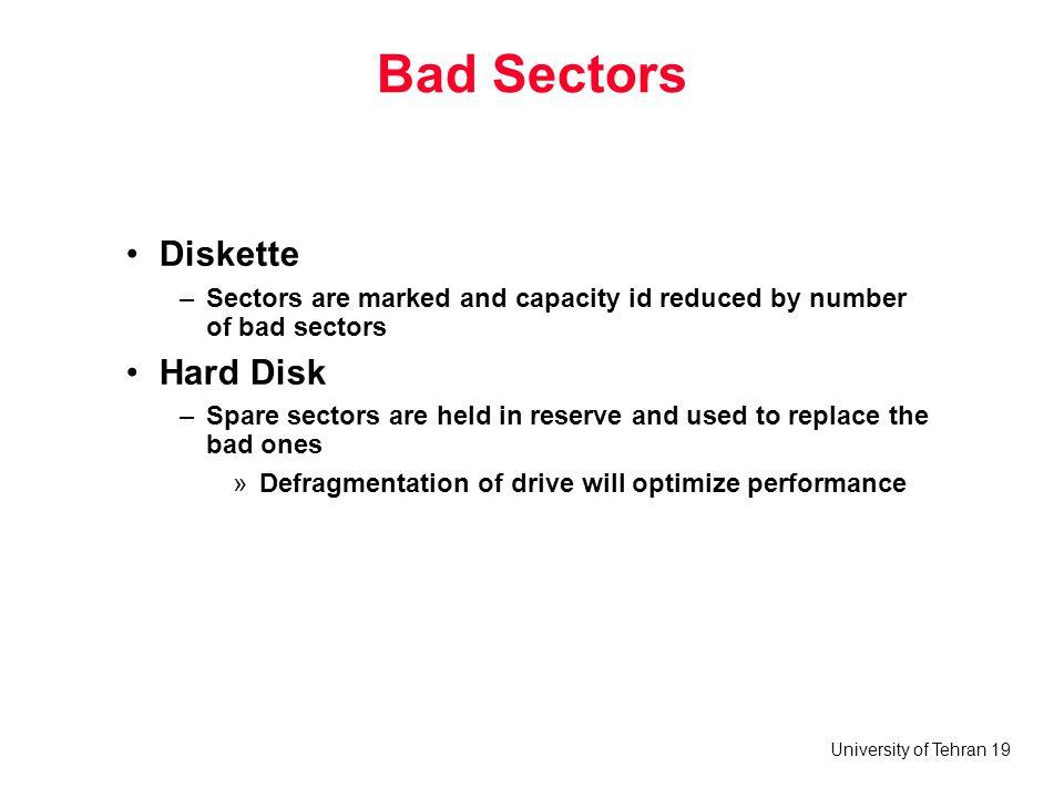 Bad Sectors Diskette Hard Disk