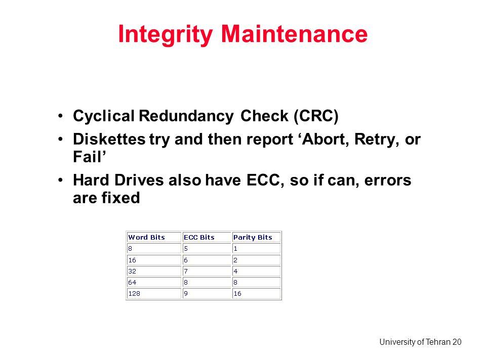 Integrity Maintenance
