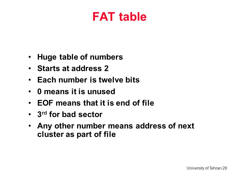 FAT table Huge table of numbers Starts at address 2