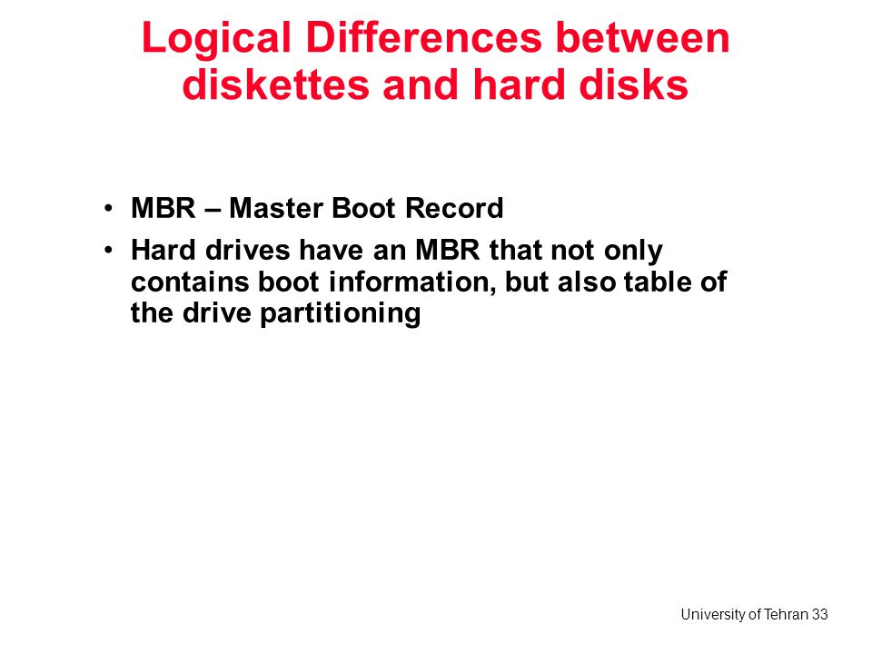 Logical Differences between diskettes and hard disks