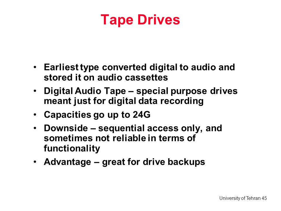 Tape Drives Earliest type converted digital to audio and stored it on audio cassettes.