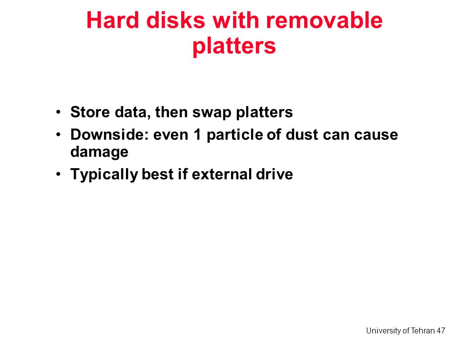Hard disks with removable platters