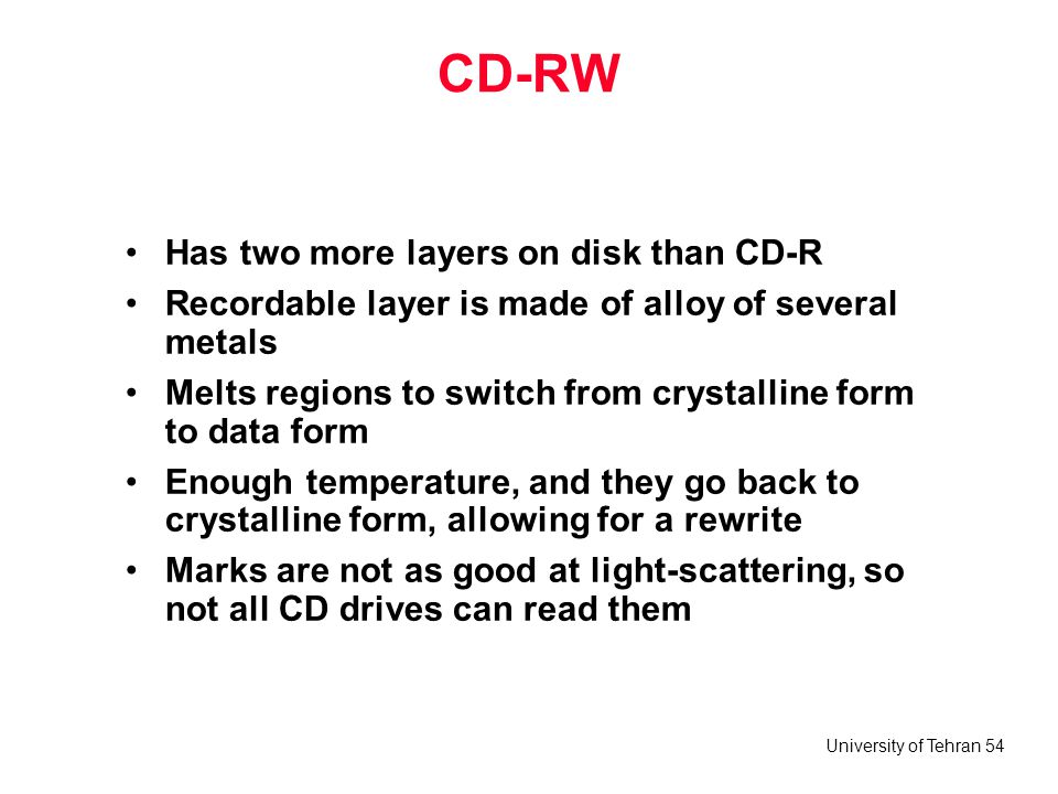 CD-RW Has two more layers on disk than CD-R