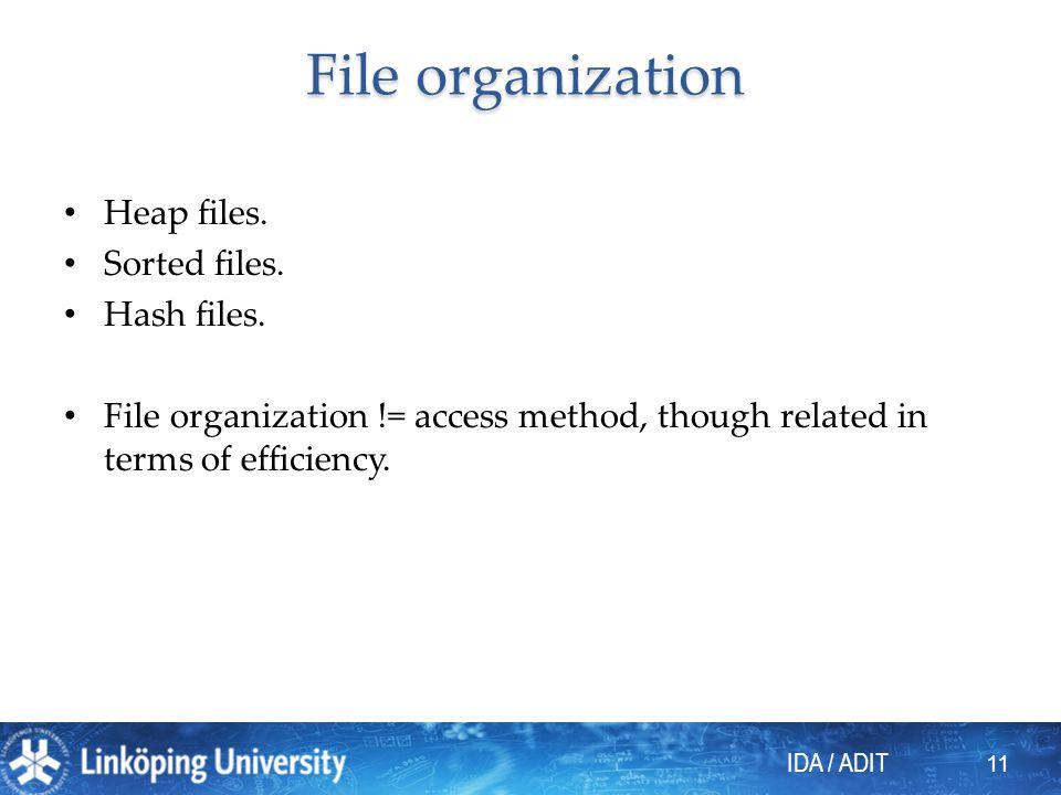 File organization Heap files. Sorted files. Hash files.