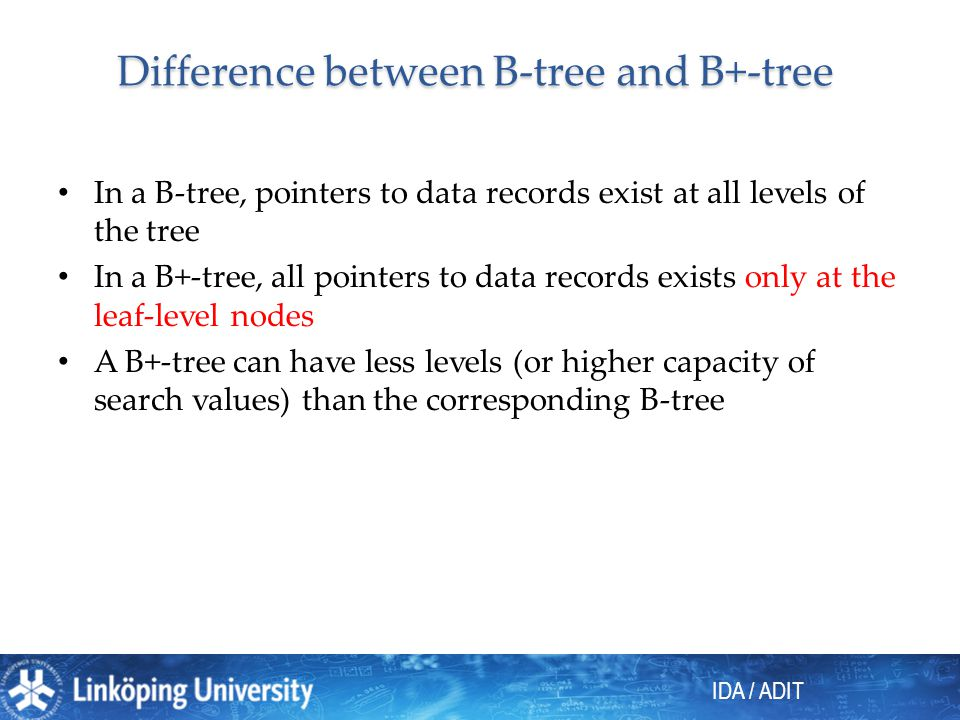 Difference between B-tree and B+-tree