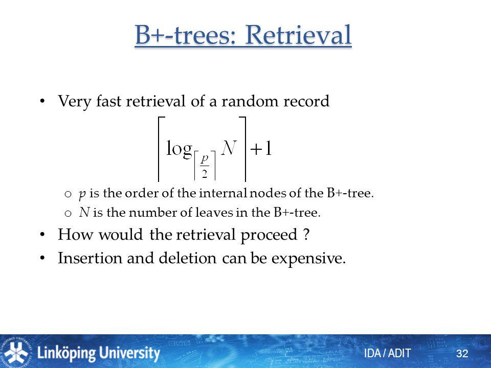 B+-trees: Retrieval Very fast retrieval of a random record