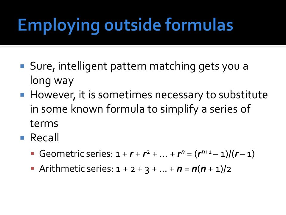 Employing outside formulas