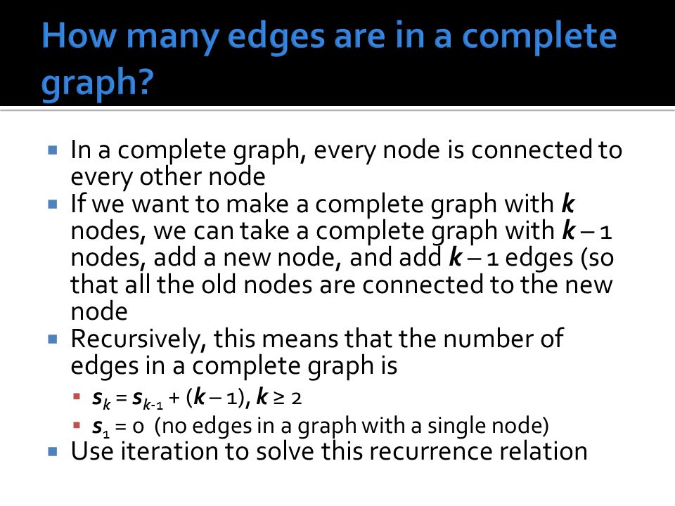 How many edges are in a complete graph