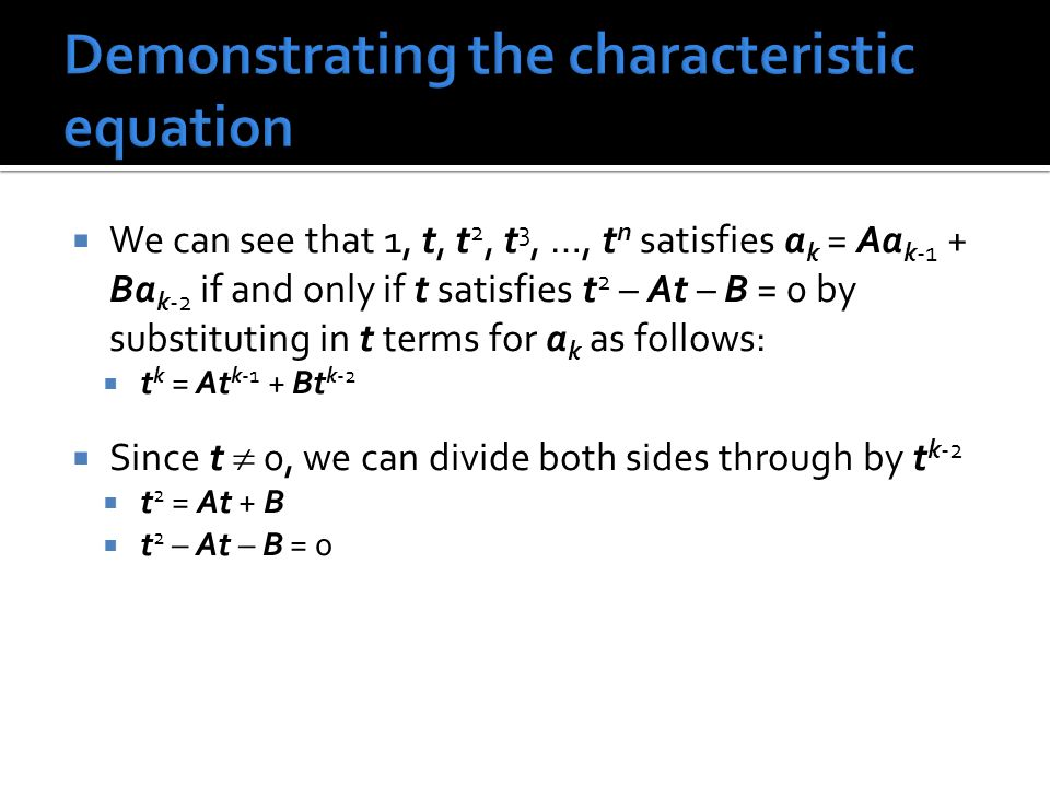 Demonstrating the characteristic equation