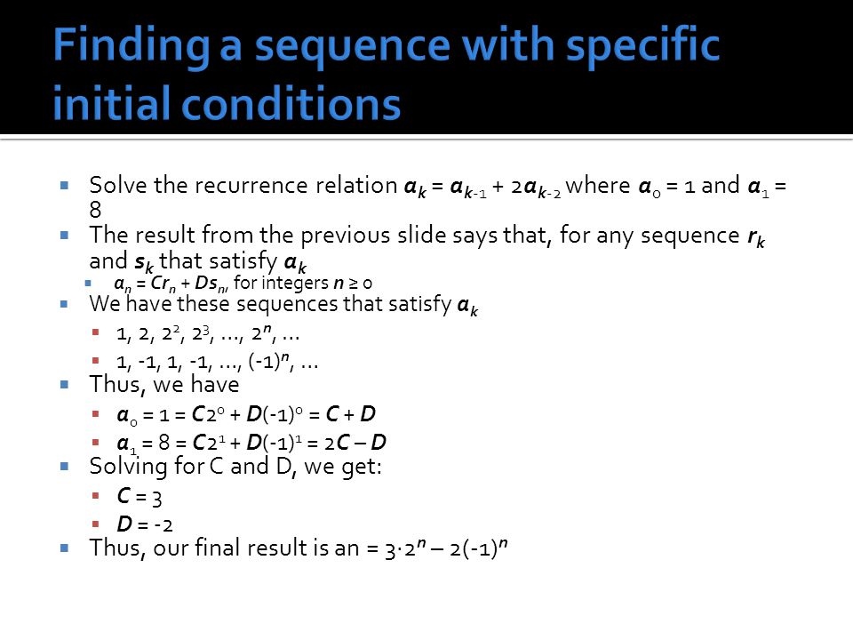 Finding a sequence with specific initial conditions