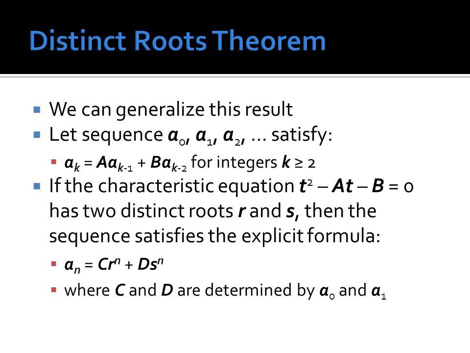 Distinct Roots Theorem