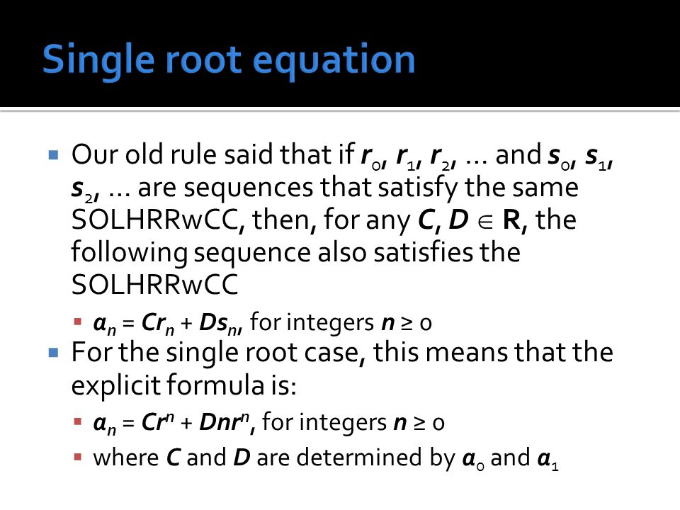 Single root equation