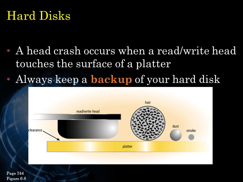 Hard Disks A head crash occurs when a read/write head touches the surface of a platter. Always keep a backup of your hard disk.