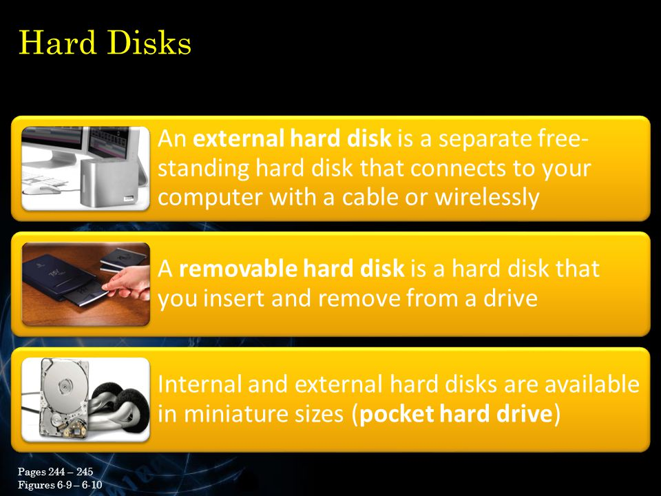 Hard Disks An external hard disk is a separate free-standing hard disk that connects to your computer with a cable or wirelessly.