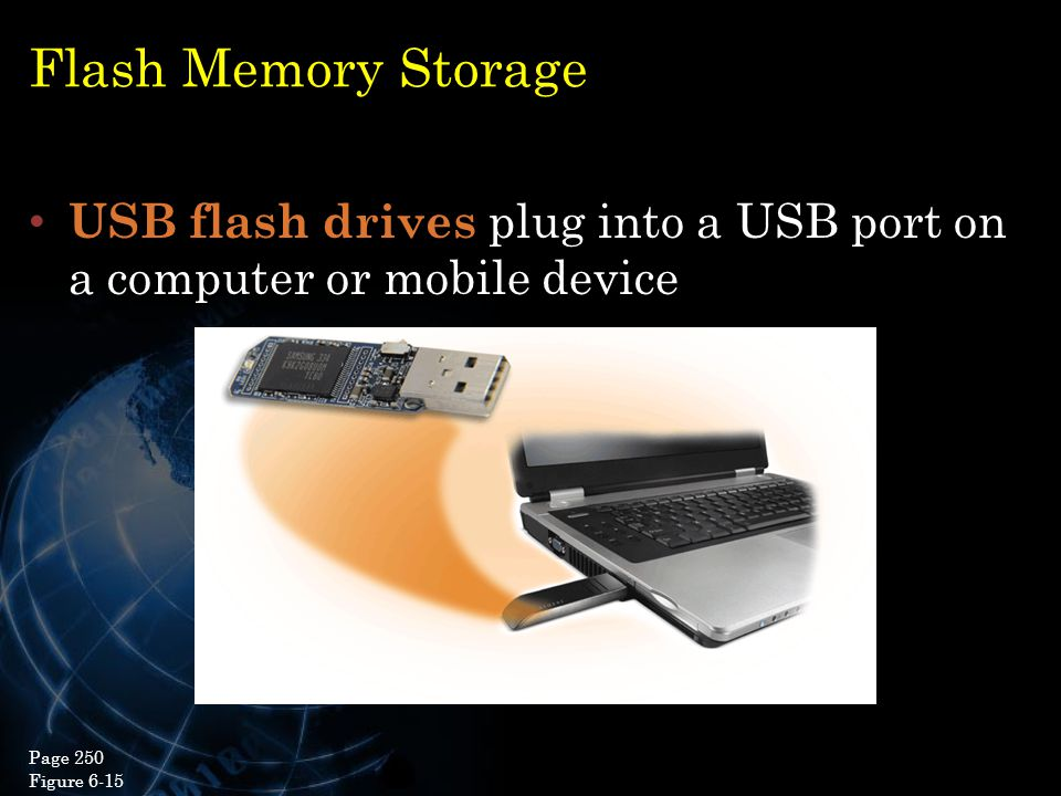 Flash Memory Storage USB flash drives plug into a USB port on a computer or mobile device. Page 250.