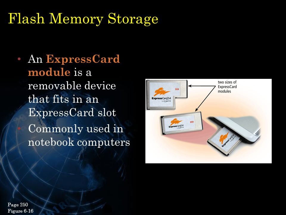 Flash Memory Storage An ExpressCard module is a removable device that fits in an ExpressCard slot. Commonly used in notebook computers.