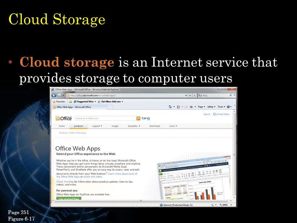 Cloud Storage Cloud storage is an Internet service that provides storage to computer users. Page 251.