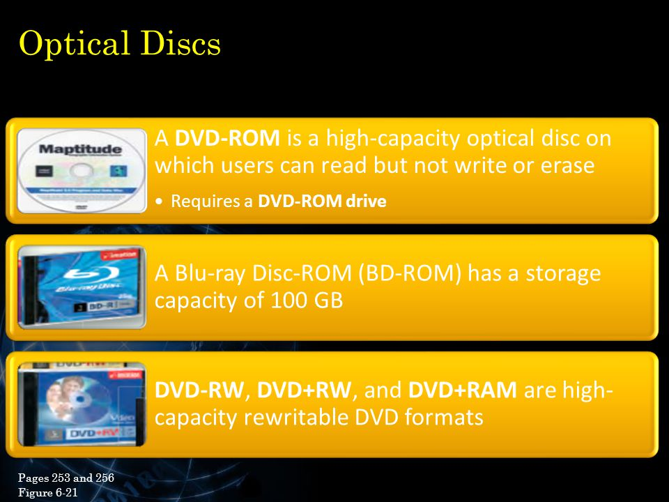 Optical Discs A DVD-ROM is a high-capacity optical disc on which users can read but not write or erase.