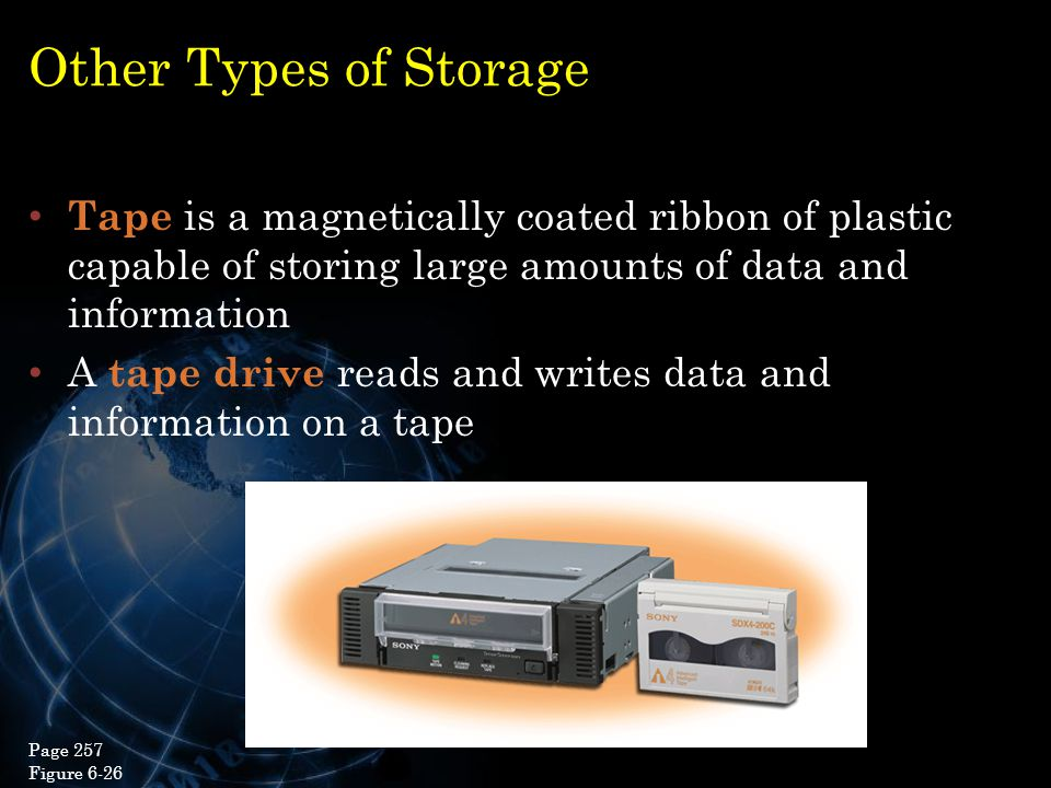 Other Types of Storage Tape is a magnetically coated ribbon of plastic capable of storing large amounts of data and information.