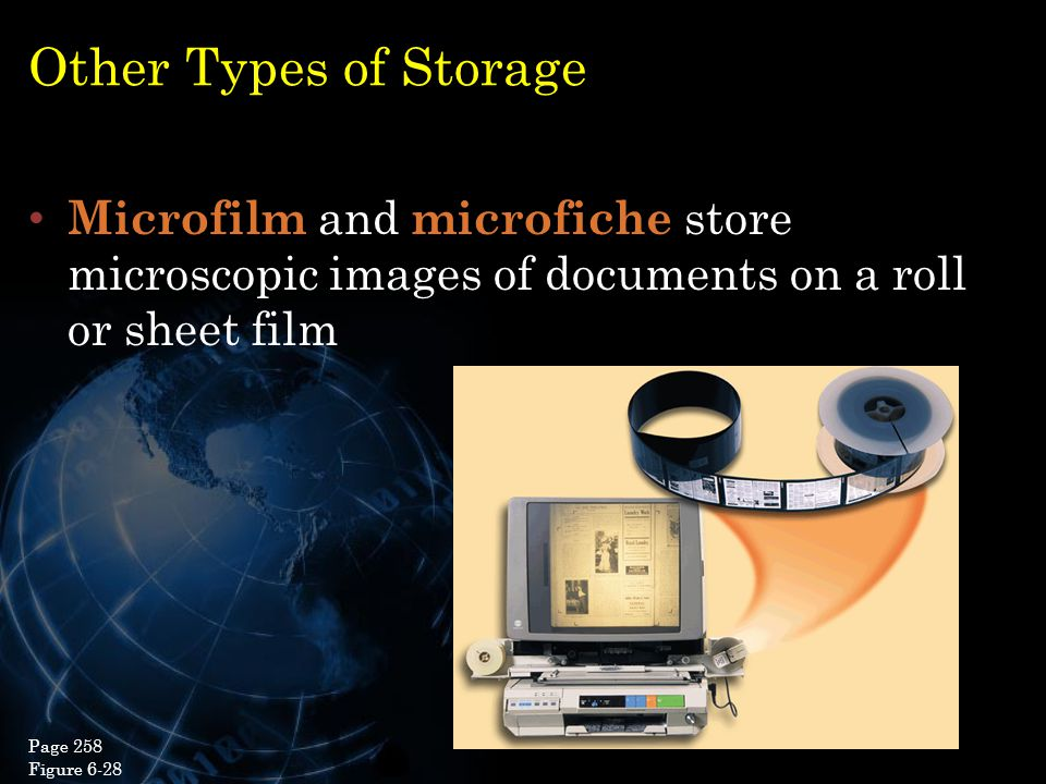 Other Types of Storage Microfilm and microfiche store microscopic images of documents on a roll or sheet film.