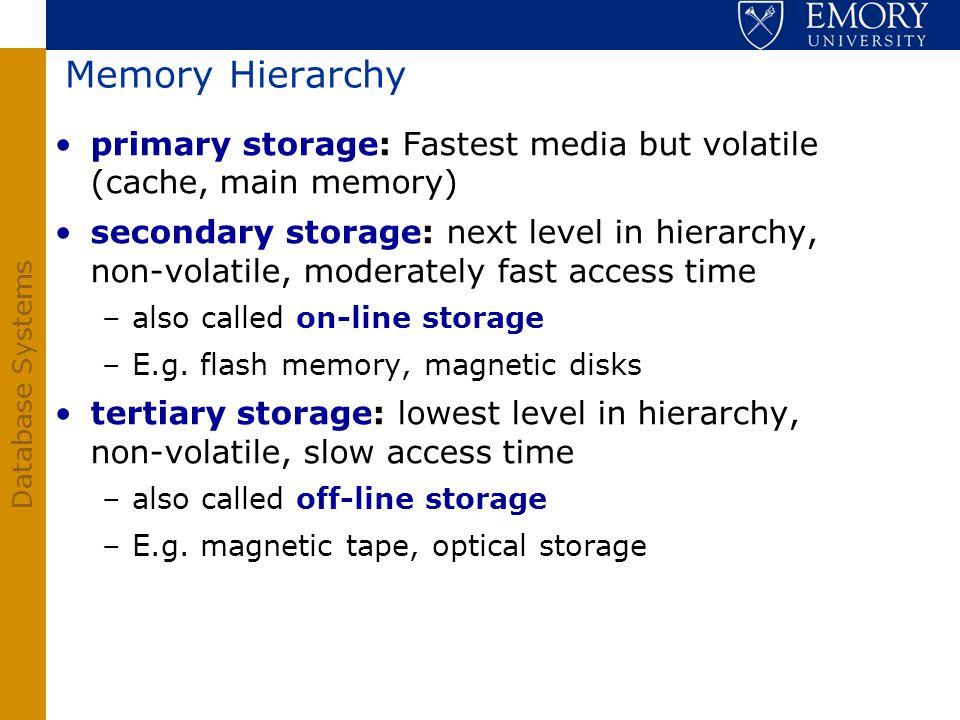 Memory Hierarchy primary storage: Fastest media but volatile (cache, main memory)