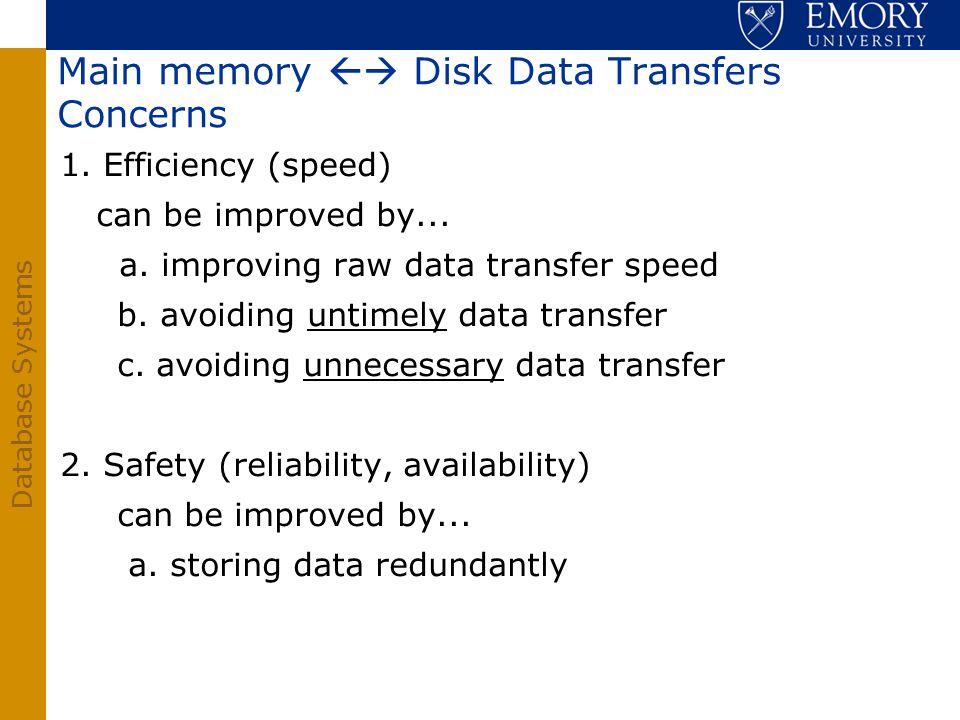 Main memory  Disk Data Transfers Concerns